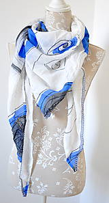 Šatky - megašatka biela s modrými kruhmi II - 5967986_