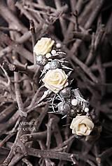 Ozdoby do vlasov - zimná čelenka BIELE RUŽE - 5971723_