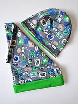 Detské súpravy - detská čiapka a nákrčník obrázky šedé - 5973012_