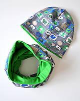 Detské súpravy - detská čiapka a nákrčník obrázky šedé - 5973023_