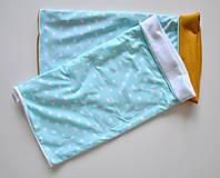 Detské doplnky - detský nákrčník mint s hviezdičkami - 5973196_