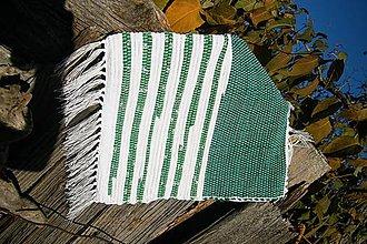 Úžitkový textil - Bielo-zelená tkaná obliečka na vankúš - 5975254_