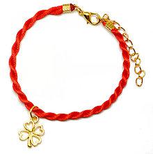 Náramky - zlatý kabbalah náramok štvorlístok 2 - 5976434_