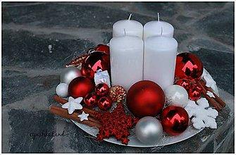 Svietidlá a sviečky - Biely zimný_ adventné aranžmá - 5980050_