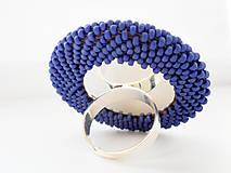 Prstene - BUTTON {XL} výrazný tmavomodrý prsteň, matný - 5979779_
