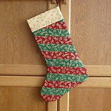 Dekorácie - Čižma vianočná/mikulášska - rôzne varianty (pruhy matná červeno-zelené) - 5983075_
