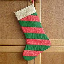 Dekorácie - Čižma vianočná/mikulášska - rôzne varianty (pruhy červeno-zelené) - 5983076_