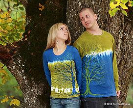 Tričká - Dámske a pánske tričká párové so stromami batikované a maľované GAŠTANOVÁ ROMANCA - 5981027_