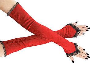 Rukavice - Spoločenské zametové dlhé červené rukavice 1030 - 5987277_