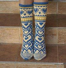 Obuv - Luxusné nórske merino ponožky srdiečkové I. - 5984315_