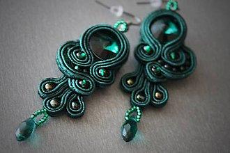 Náušnice - najkrajšia nevesta (smargdové - emerald) - 5986909_