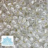 TOHO rokajl (Round 2mm) Silver-lined crystal
