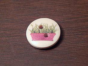 Galantéria - Gombík drevený 15mm - pre záhradkárov - kvetináč - 5993362_