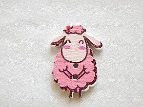 Galantéria - Gombík drevený 30x21 mm - ovečka - ružová - 5993811_
