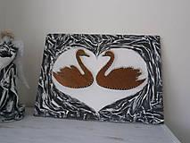 Obrazy - Zaľúbené ľabute zo svadobnej kolekcie v štýle shabby chic - 5993919_