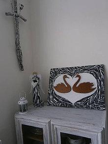 Obrazy - Zaľúbené ľabute zo svadobnej kolekcie v štýle shabby chic - 5993918_