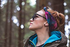 Ozdoby do vlasov - Čelenka s uzlom Stoned raspberry a Ink yourself - 5994076_