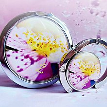 Zrkadielka - sada Šípková ruža - zrkadielko, vešiak na kabelku - 5992241_