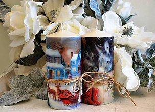 Svietidlá a sviečky - Vianočné vintage duo - 5991666_