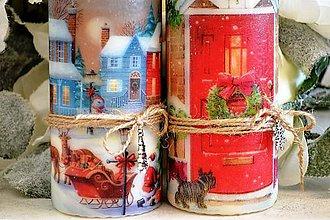 Svietidlá a sviečky - Vianočné vintage duo - 5991685_