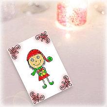 Papiernictvo - Vianočný pajác - vianočná pohľadnica (7) - 5994750_