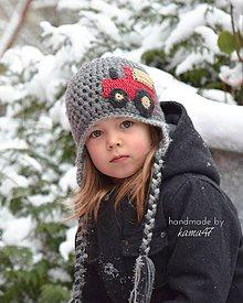 Detské čiapky - Zimná ušianka... traktor - 5998727_