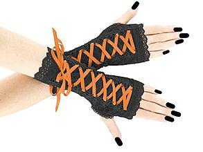 Rukavice - Bezprsté rukavičky so šnurovaním - gothic štýl 0110G - 6000743_
