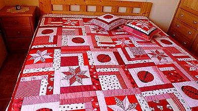 Úžitkový textil - patchworková deka lienkovanie - ukážka - 6000432_