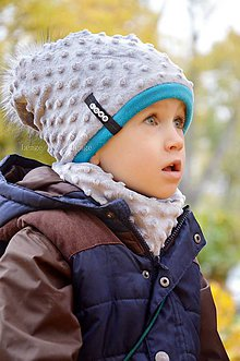 Detské súpravy - zimný set s odopínacím brmbolcom sivá &tyrkis ...alebo farbu si vyber! - 6001166_