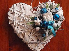 Dekorácie - Tyrkysovo  biele vianočné srdce - 6001284_
