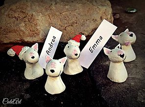 Drobnosti - Bulteriér - menovky na vianočný stôl - 6004644_