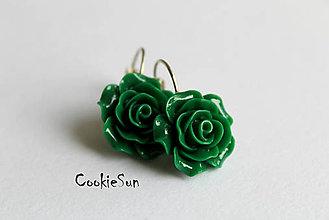 Náušnice - Keď Rozkvitne Ruža... Emerald - 6003308_