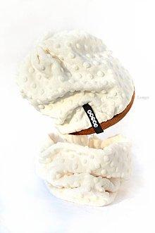 Detské súpravy - zimný set minky  ivory&brown - 6006243_