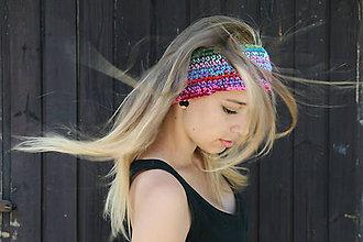 Ozdoby do vlasov - Farebná háčkovaná čelenka Malvína - 6003034_