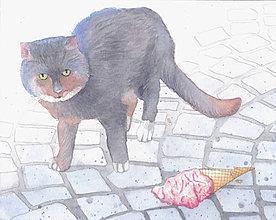 Obrazy - Mlsná kočka - originál, akvarel - 6001948_