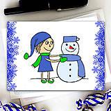 Papiernictvo - Vianočný pajác - vianočná pohľadnica (námraza) - 6001876_