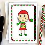 Papiernictvo - Vianočný pajác - vianočná pohľadnica (pruhy) - 6005510_