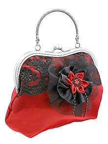 Kabelky - Spoločenská červená čipková kabelka dámská 09 - 6010312_