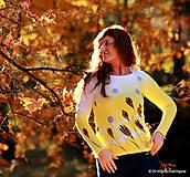 Tričká - Dámske tričko batikované a maľované ŠAFRÁNIK - 6009658_