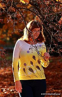 Tričká - Dámske tričko batikované a maľované ŠAFRÁNIK - 6009632_