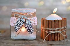 Svietidlá a sviečky - Zasnežený svietnik. - 6009363_