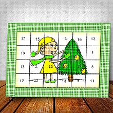Dekorácie - Adventný kalendár Vianočný pajác károvaný - 6009584_