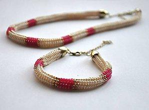 Sady šperkov - krémovoružový setík - 6011766_