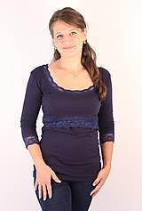 Tehotenské/Na dojčenie - Dojčiace tričko 3v1 - 3/4 rukáv - s čipkou - 6011009_