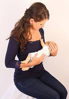 Tehotenské/Na dojčenie - Dojčiace tričko 3v1 - 3/4 rukáv - s čipkou - 6011013_