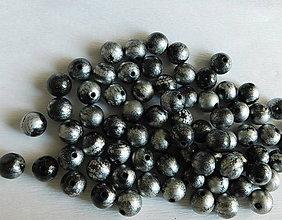 Korálky - strieborno čierne drevené korálky / 100gr - 6012147_