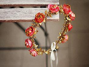 Ozdoby do vlasov - brokátový věneček se třpytivými růžemi - 6011100_