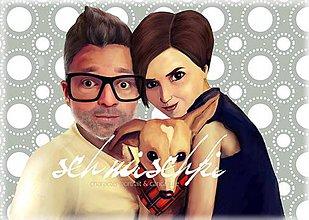 Kresby - charakterový portrét-manželia - 6019934_