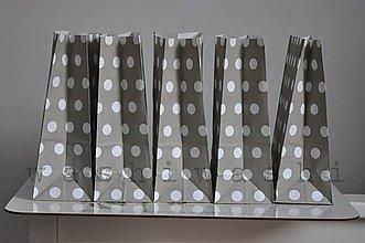 Obalový materiál - papierove vrecko - stand up - siva bodka - 6019535_