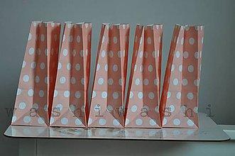 Obalový materiál - papierove vrecko - stand up - ruzova bodka - 6019572_
